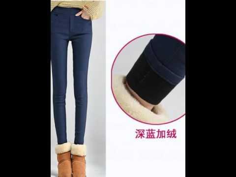 Fashionable skinny jeans high waist with velvet padded leggings.avi