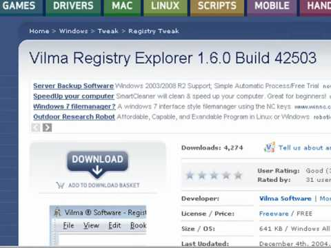 video tutorial : Activate registry and task manager with vilma registry explorer method 2