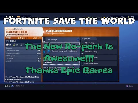 15a) Fortnite Save The World The New Re-perk Is Awesome!!! Thanks Epic Games.