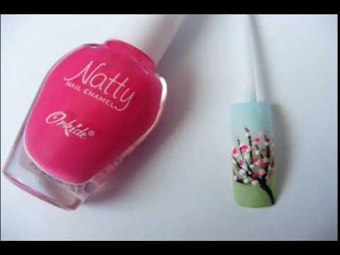 Cherry blossom nail art design tutorial