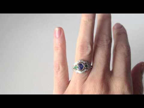 www.katebadge.com.au - Vintage Art deco Style Sapphire, Emerald & Diamond Ring in 18ct white gold