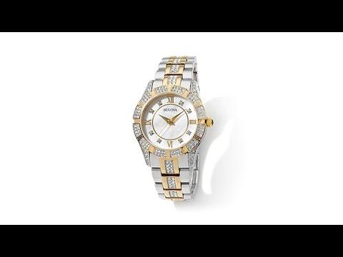 Bulova MotherofPearl Dial Crystal Bracelet Watch