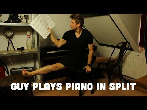 Guy Plays Piano in the Splits!    Una Mattina by Ludovico Einaudi