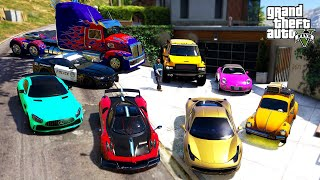 GTA 5 - Stealing TRANSFORMERS Movie All Vehicles with Franklin! (Real Life Cars #100)