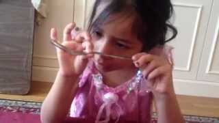6 year old bends fork with her MIND!  Amazing  --- Dorothy Hagen