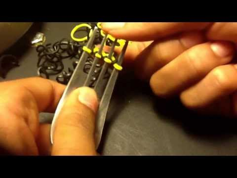 How to make a hexafish rainbow loom bracelet on a fork