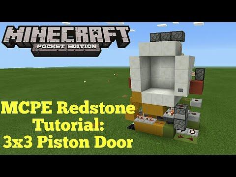 Minecraft Pocket Edition Redstone Tutorial: 3x3 Piston Door (MCPE 1.1.0)