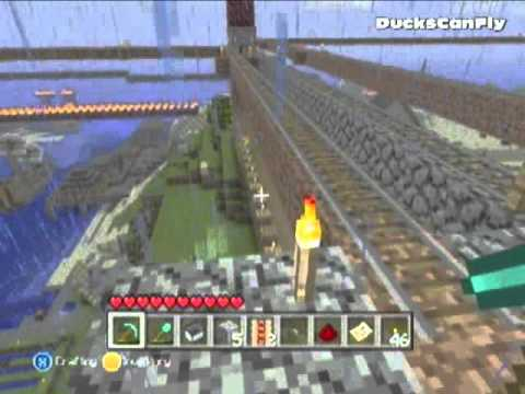 Minecraft xbox 360: Minecart take off with a button (How to Tutorial)