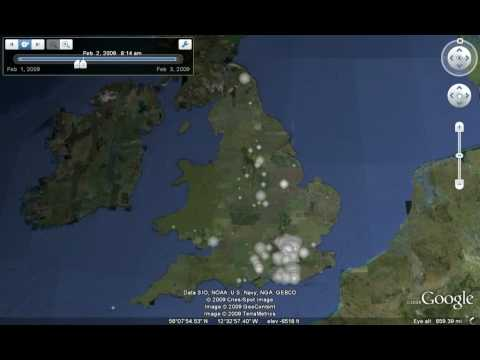 Uk Snow Twitter Animation, Google Earth 5