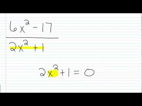 Algebra I Help: Determining the Restricted Values for a Rational Expression II