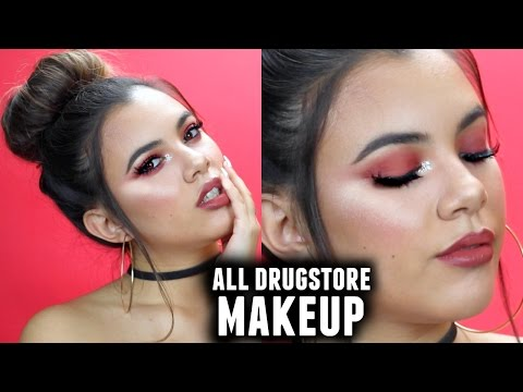 ALL DRUGSTORE MAKEUP TUTORIAL | Easy Burgundy Makeup Look That Will Make You Slay On A Budget!!