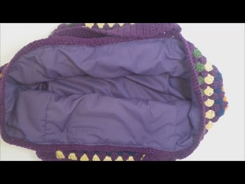 How to add a fabric lining to a crochet bag