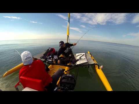 Hobie kayak fishing, Padre Island National Seashore. Red Snapper trip.