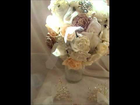 Ivory Rose and Diamanté Crystal Bouquet