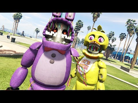 WITHERED ANIMATRONICS IN GTA 5! (GTA 5 Mods FNAF Funny Moments)