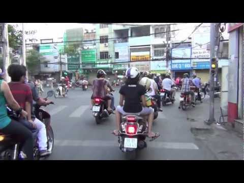 Learning how to drive a motorbike in Vietnam