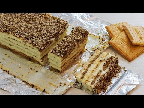 No Bake Biscuit Cake with Pudding Recipe | HappyFoods