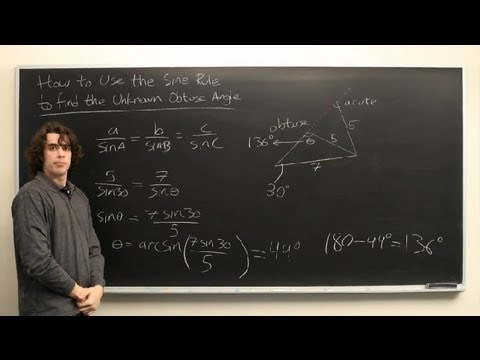 How to Use the Sine Rule to Find the Unknown Obtuse Angle : High School Math