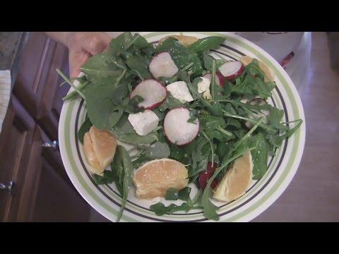 Angelo's Mom Makes Arugula-Spinach Salad w/ Orange Juice & Honey Dressing