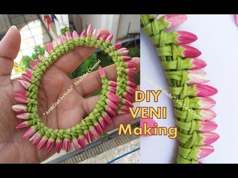 DIY Garland Veni using Fresh Flower BUDS- How to Make Veni/ Gajara without String