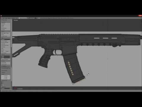 Lowpoly Gun Modeling Timelapse in Blender 2.68