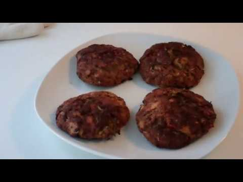 Salmonburgers baked in the toaster oven