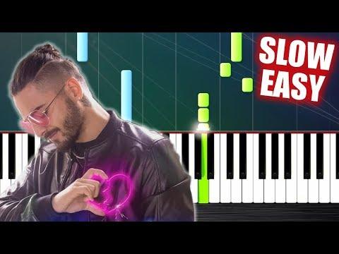 Maluma - Corazón - SLOW EASY Piano Tutorial by PlutaX
