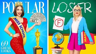 POPULAR vs NERD Student    Types of Girls in School Life! How To Become Popular by RATATA