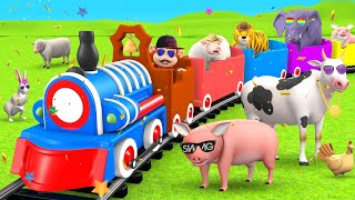 Monkey Train Ride in Forest with Wild Animals Elephant & Tiger | 3D Cartoon Animals Videos