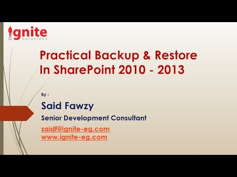 Practical Backup & Restore in SharePoint 2010-2013 -Part I