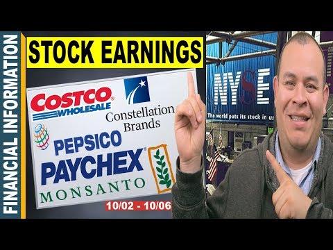 October Stocks Earnings📊| PepsiCo, Costco, YumChina, Constellation Brands, Paychex, Monsato | 2–6📆