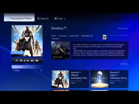 Destiny 1st to use Pre Order Download Now Functionality on PS4