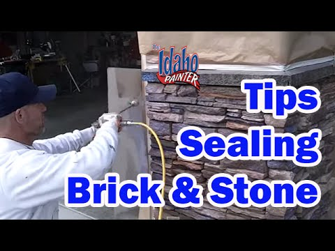 Applying H&C Sealer To Decorative Stone.  How to paint a house.