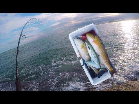 Jetties Fishing Is CHEATING!!! Catching Spanish Mackerel and Redfish