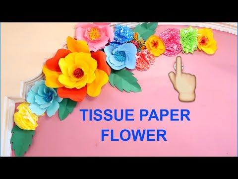 TISSUE PAPER FLOWER | DECORATION IDEAS | FLOWER | BIRTHDAY DECORATION IDEAS | WALL DECORATION IDEAS