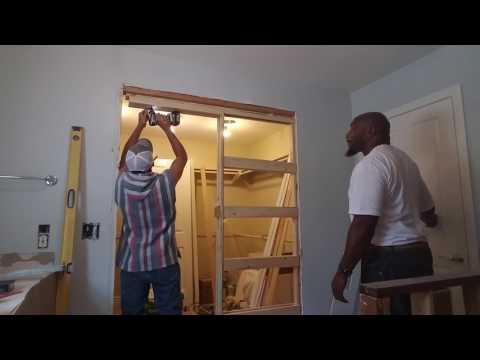 Installing a pocket door frame....