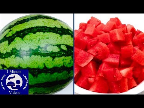How to Peel and Cut a Watermelon in One Minute / DIY, Tutorial, Cooking Tips