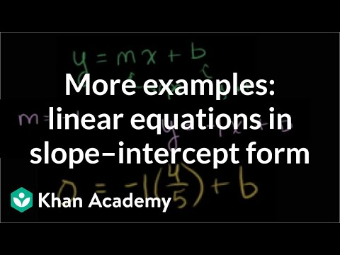 More examples of constructing linear equations in slope-intercept form | Algebra I | Khan Academy