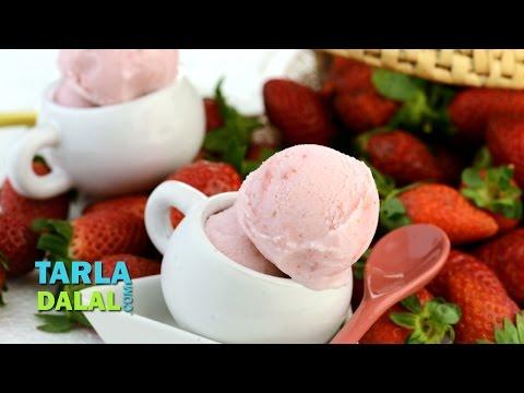 Fresh Strawberry Ice Cream by Tarla Dalal
