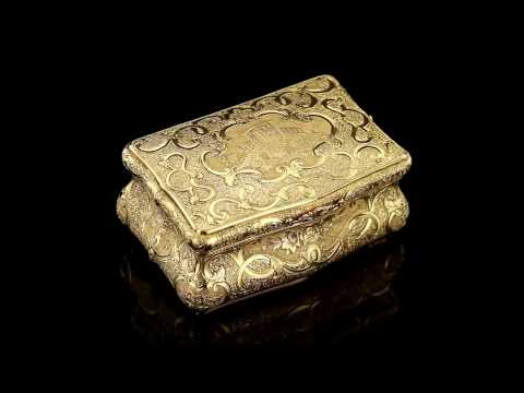 ANTIQUE 19thC GERMAN 14K SOLID GOLD ENGRAVED CASTLE SNUFF BOX c.1860