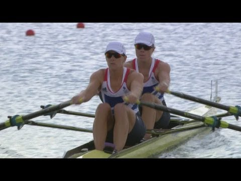 Team GB Sets Olympic Record - Women's Double Sculls Rowing 1st Heat Replay -- London 2012 Olympics