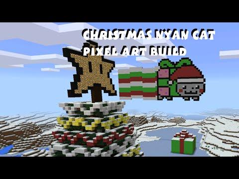 Christmas Nyan Cat Pixel Art - Minecraft Pocket Edition Tutorial