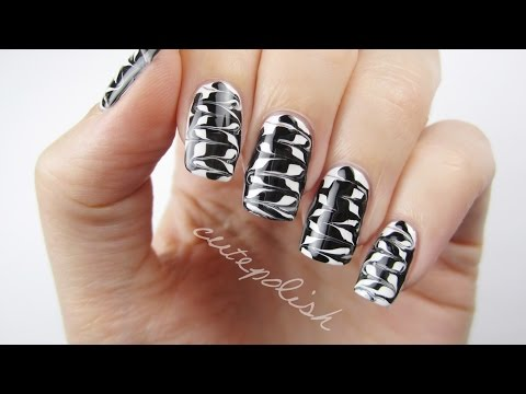 Melted Monochrome Nail Art
