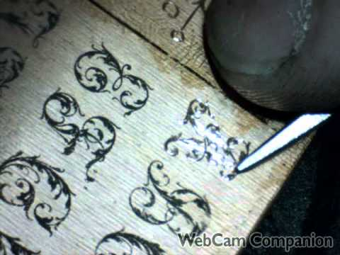 Hand Engraved Leaf Script Font Sample Plate by Shaun Hughes
