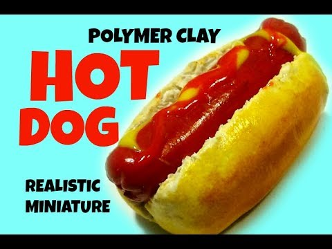 DIY polymer clay HOT DOG TUTORIAL