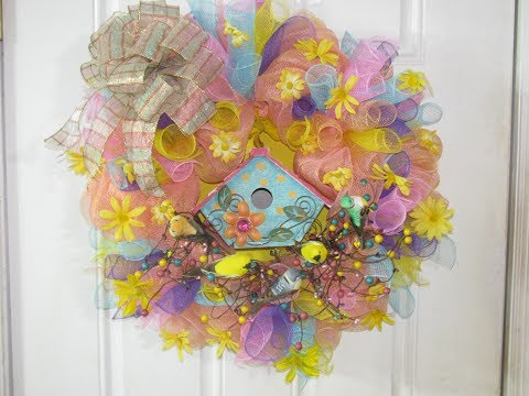 How To Make Carmen's Spring Is For The Birds Deco Mesh Wreath
