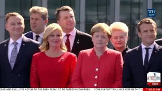 President Trump at the NATO Unveiling of the Article 5 and Berlin Wall Memorials 5/25/17