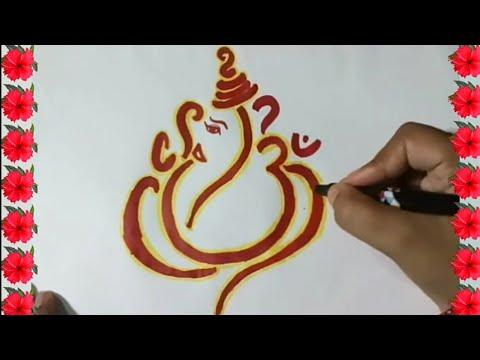 How to draw ganesh ji || diwali easy drawing of ganesha with om step by step ||