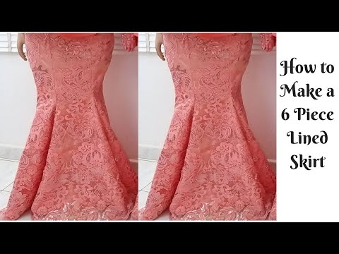 How to Cut 6 Piece Skirt (Sew with lining and elastic waist band) Simple & Detailed Mermaid Skirt