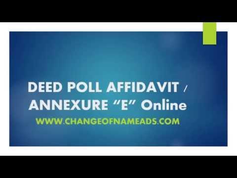 Deed poll affidavit Annexure E online